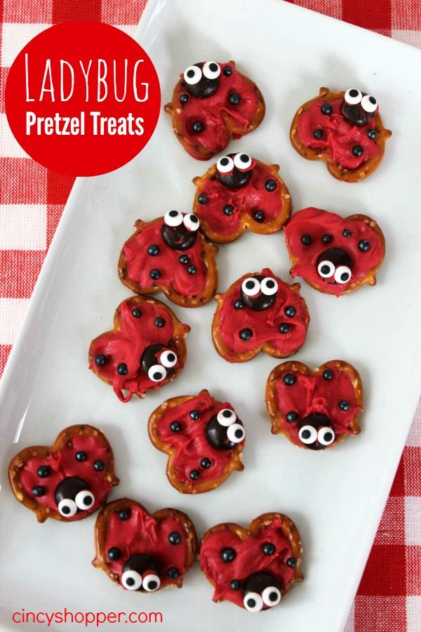 Ladybug Pretzel Treats. Great for after school snack. Also perfect for picnics this summer.