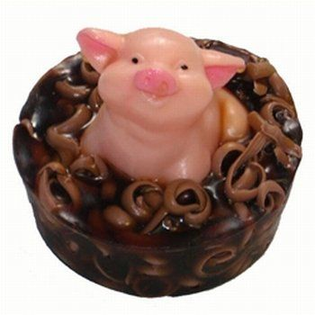 Hog wash soap. A little soap pig embedded in a mudbath of soap. called hog wash and unfortunately doesn't smell like bacon.