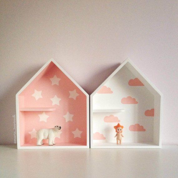 Set 2 House Shaped Shelf Wooden House Shelf Kids Shelf House Shadow Box House Shelves Diy Kids Furniture Diy Christmas Decorations Easy
