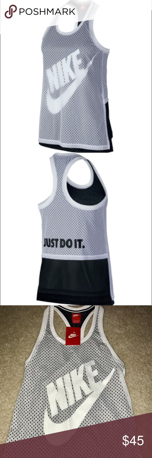 """NEW🎁Nike Mesh training tank sz S NEW🎁Nike Mesh training tank sz S  Mesh fabric offers stylish breathability 2-layer construction features 2 different scales of mesh fabric Relaxed fit loosely drapes the body Nike corporate logo screen print peaks through the top mesh layer Racerback design features a mesh overlay printed with """"JUST DO IT"""" Split hem gives a flattering shape  nike Tops Tank Tops"""