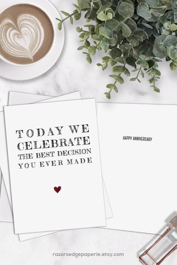 Printable Funny Anniversary Card For Him Husband Instant Download Best Decision Printable Anniversary Cards Anniversary Cards For Husband Funny Anniversary Cards