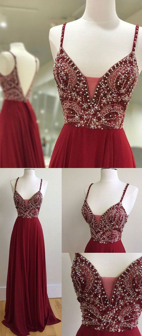 unique sequin beads burgundy long prom dress, burgundy formal dress, evening dress