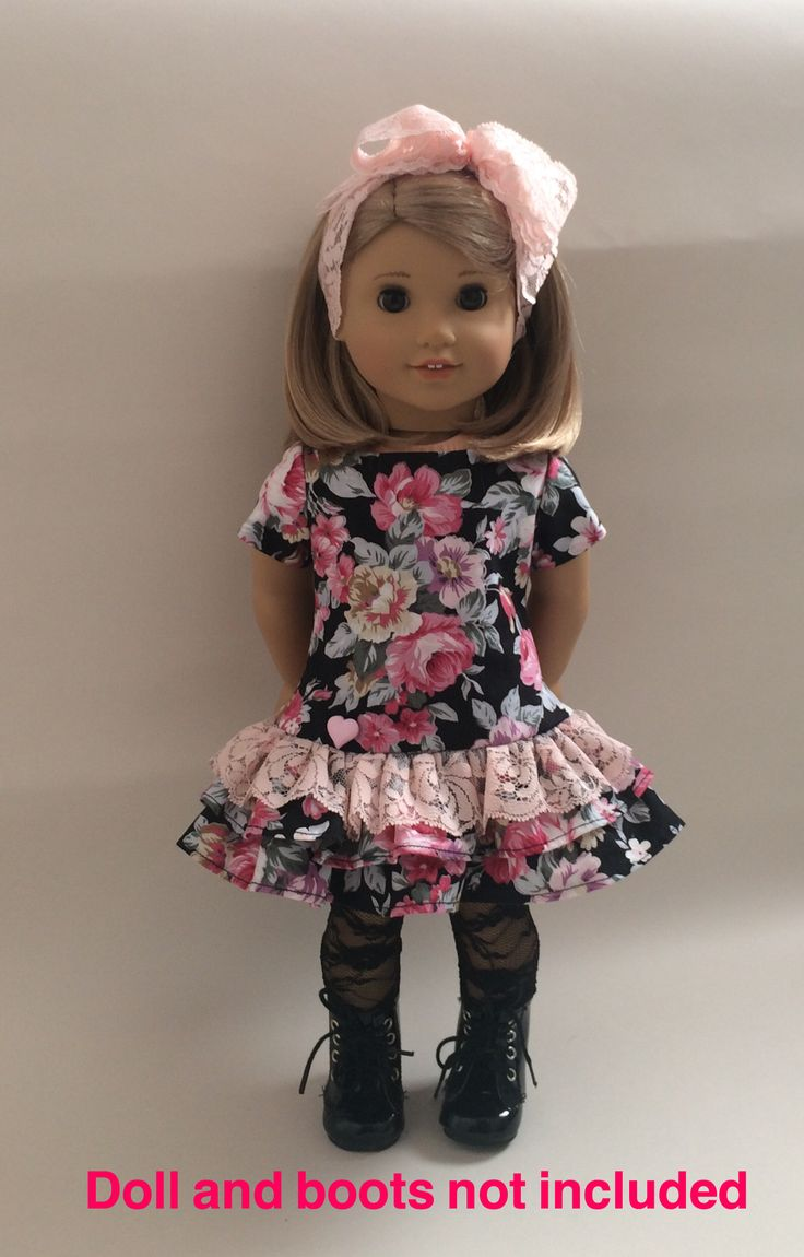 18inch doll outfit Handmade to fit American Girl and similar medium-bodied dolls. Dress made from Simplicity pattern, black stretch lace tights made using and adapting the Liberty Jane leggings pattern (found at Pixiefaire.com. Hairband my own design! eBay seller.