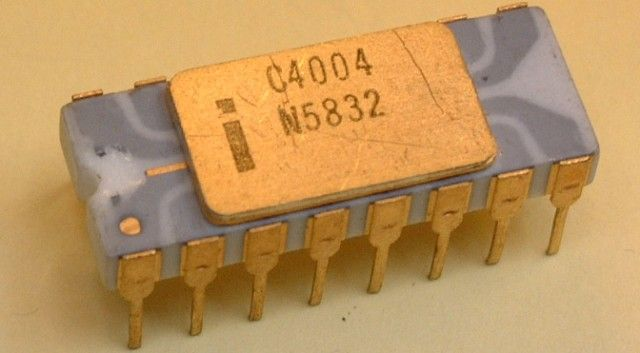 1971: Intel releases the first commercially available microprocessor, the Intel 4004, on November 15. It is a 4-bit, 16-pin CPU that operates at a mighty 740KHz.