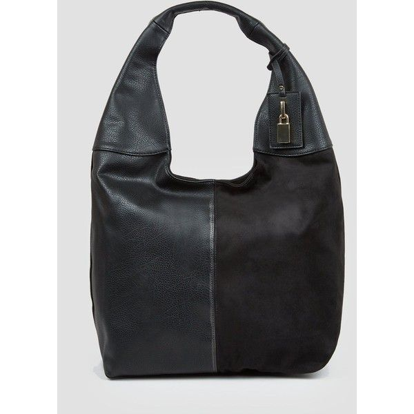 New Look Black Oversized Hobo Bag ($34) ❤ liked on Polyvore featuring bags, handbags, shoulder bags, black, new look handbags, faux leather shoulder bag, oversized purses, hobo shoulder bags and vegan shoulder bags