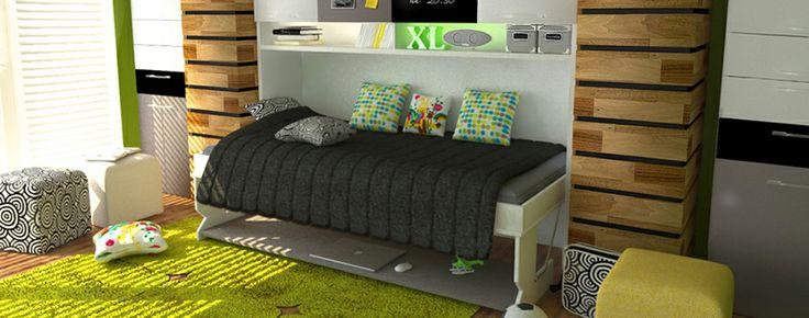Monoblock Joy J-201. Corp mobilier multifunctional, compus din birou, pat, spatii depozitare.
