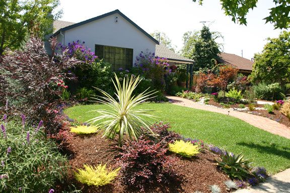 Drought tolerant landscaping ideas california brick path for Drought tolerant front garden designs