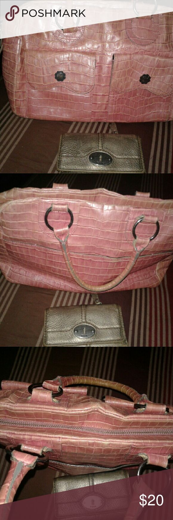 Anna Sui Pink Metallic Purse & Fossil Wallet Cute pair. Throwing in the wallet for free! Purse is leather and clean inside. Some normal wear to leather from handling. See pics. Anna Sui Bags