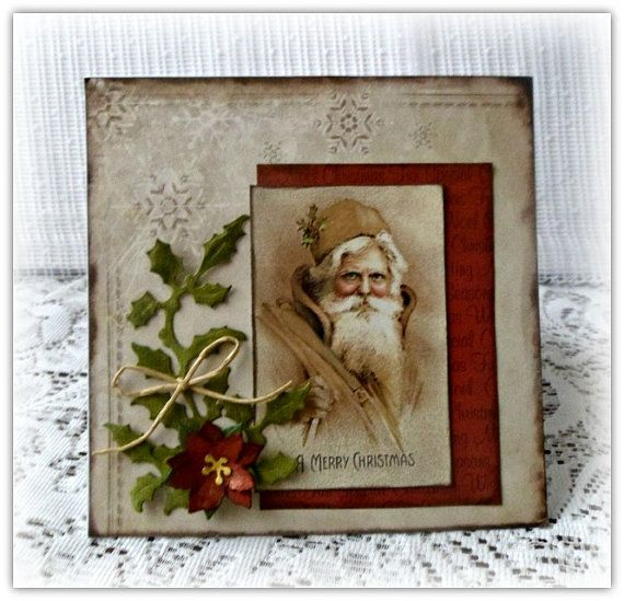 Hand made Christmas card  vintage Christmas by CarmenHandCrafts, €4.90