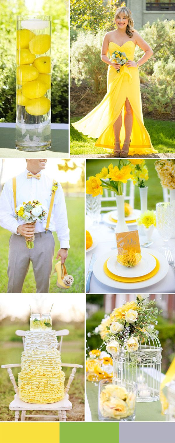 yellow and green wedding trends for 2016 spring. 1000+1 Creative Ways to Add Color to Your Wedding! View more wedding ideas:  http://www.homeboutiquecraft.com