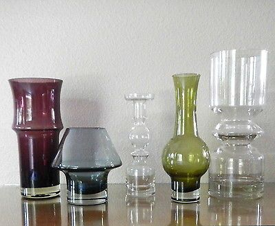 Instant Collection, Set of 5 Vintage Riihimaki Glass Vases, 1960s-70s Finland