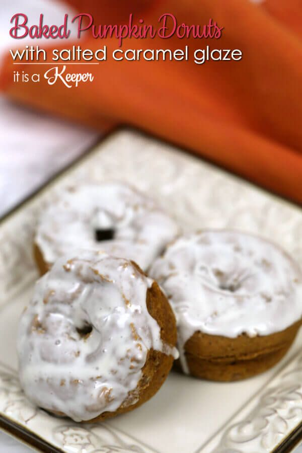 These Pumpkin Donuts with Salted Caramel Glaze are one of my favorite easy dessert recipes. They comes together quickly and are very yummy.