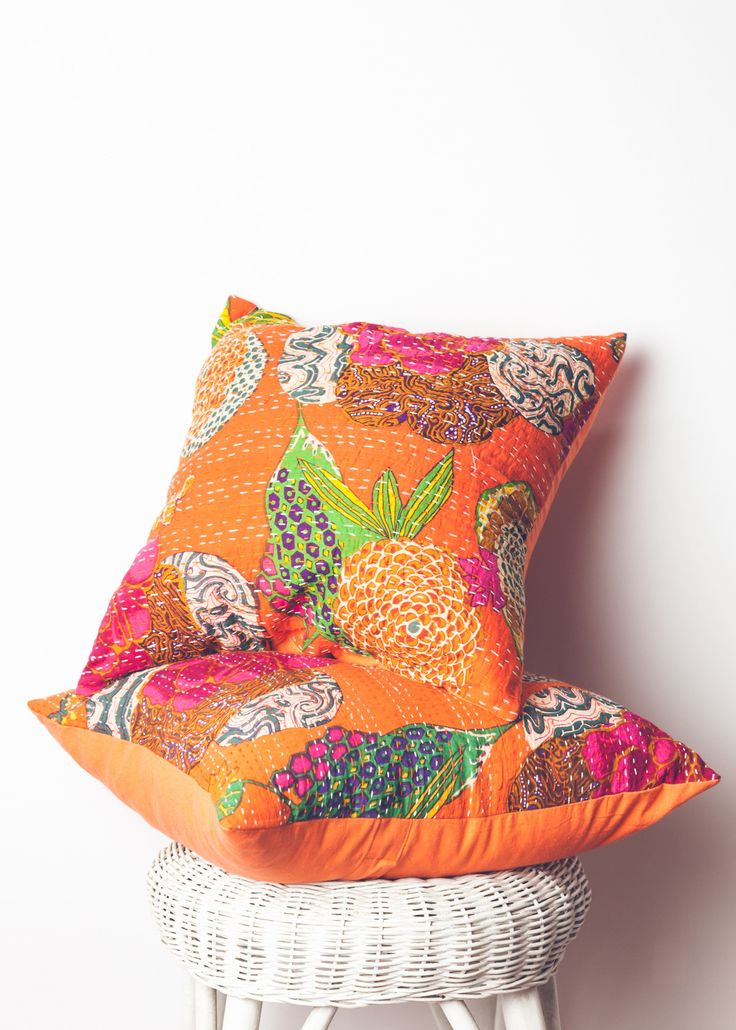 Orange Throw Pillows For Bed : Kantha Throw Pillow - Orange Floral Print by SoulMakes Bed Pinterest Home, Curls and Printed
