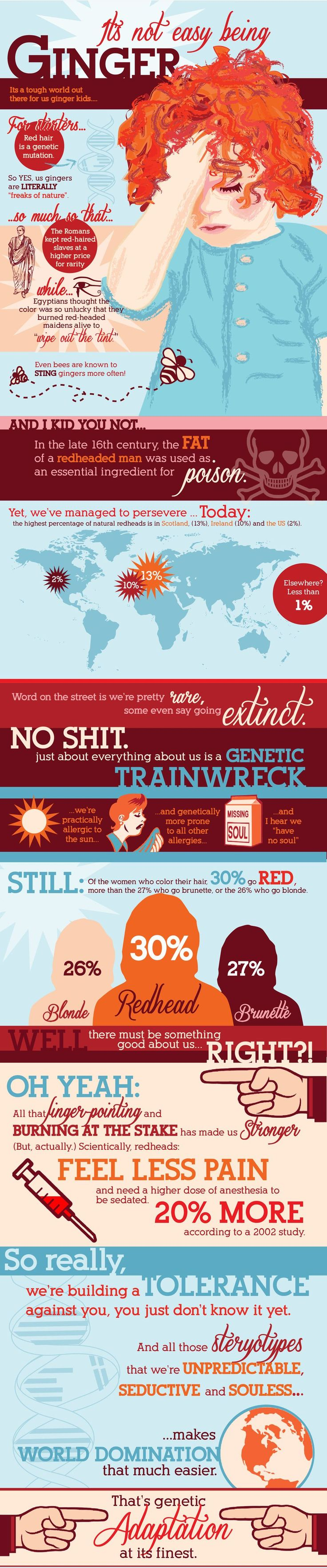 Infographic Facts About Gingers - Humors Chart All About Red Heads #RedHeads