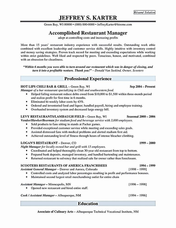 20 Kitchen Manager Job Description Resume in 2020
