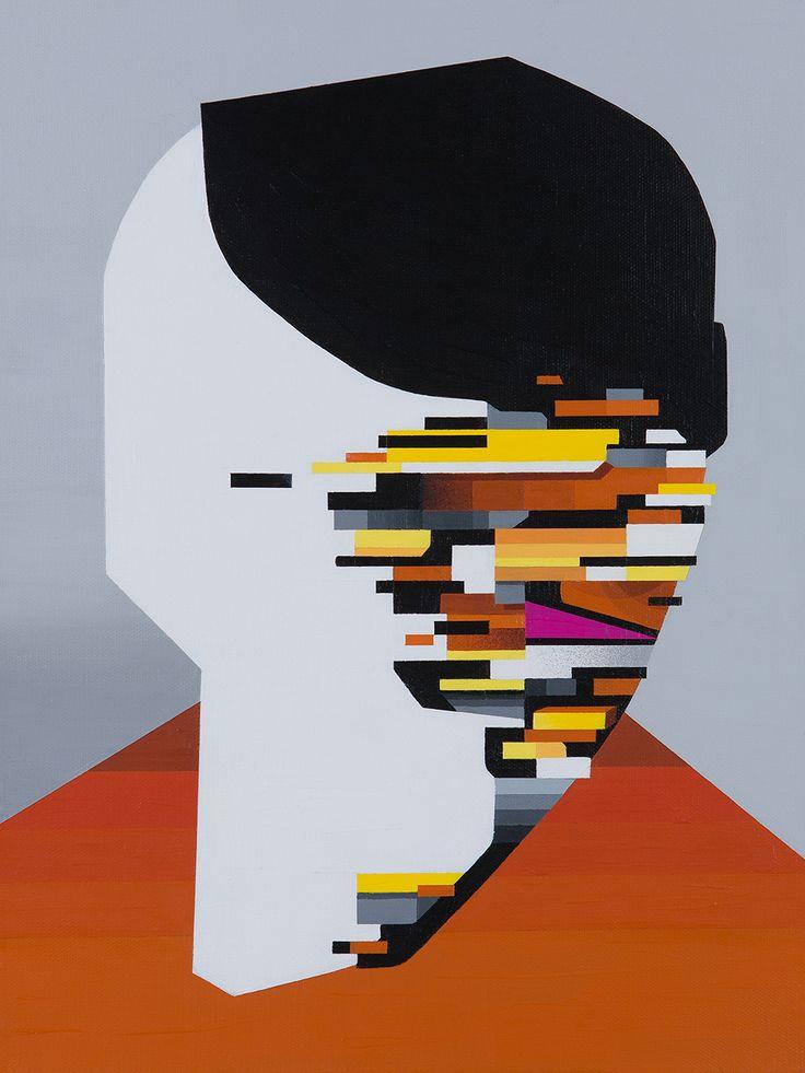 "Tobias Kroeger, ""Message Deleted"" Acrylic on Canvas, 2016, 30x40cm - Cubist, Contemporary, Art, Painting, Geometric, Portrait"