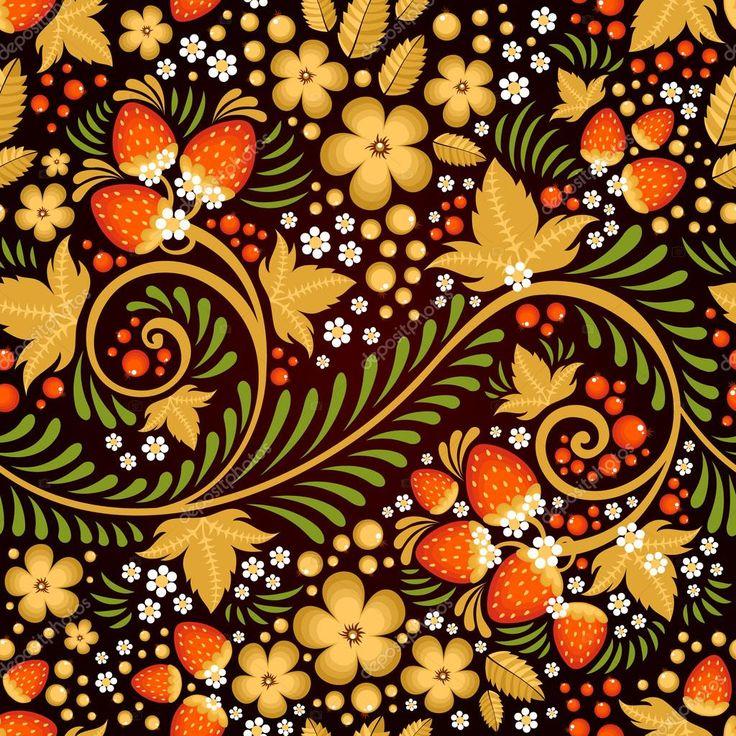 Праздничный хохлома бесшовные модели с традиционными цветочными элементами - ягодами и листьями