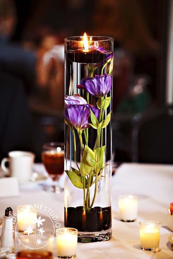 Simple cylinder centerpiece idea vases
