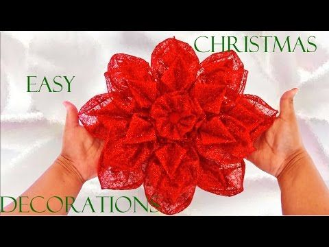 Flores de Navidad en cintas de organza Christmas flowers in organza ribbons - YouTube