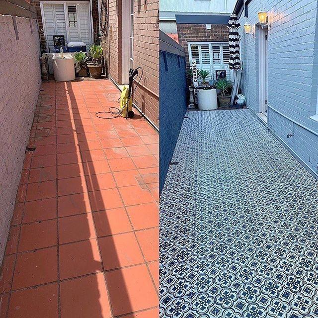 Santa Ana Tile Stencil Outdoor Tiles Floor Painted Patio Outdoor Tiles