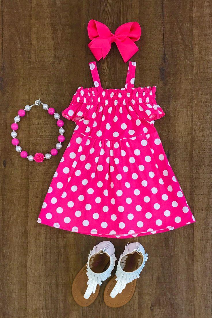 Hot Pink Polka Dot Off-Shoulder Dress