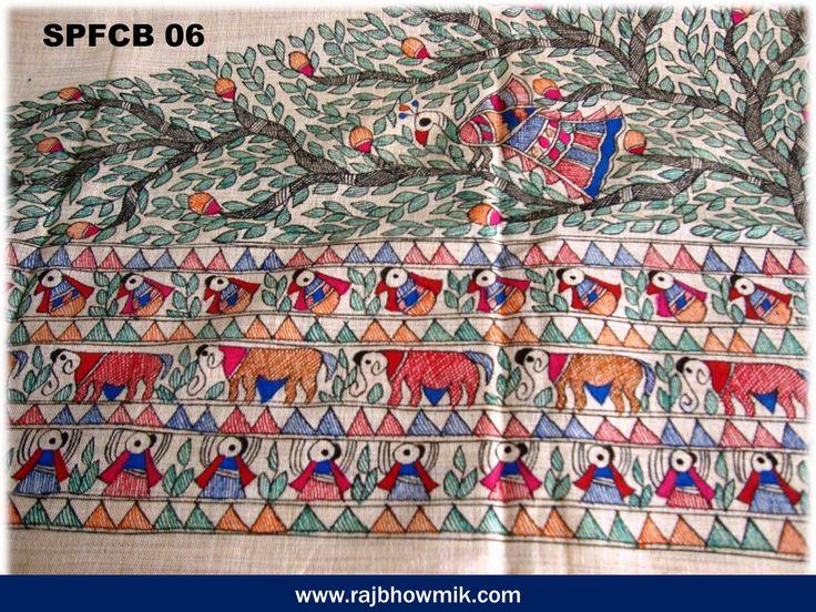 Madhubani Dupatta handpainted in Mithila origin from Rashidpur Village