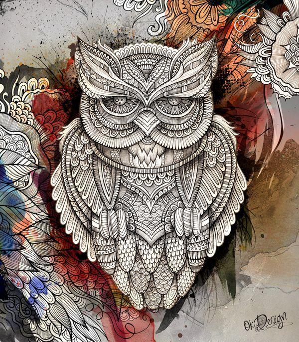 Graphics. Sovushka Eule. Owl Zentangle Gekritzel .. Diskussion über Liveinternet - Russian Service Online-Tagebuch