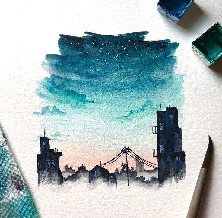Painted a urban landscape this morning while liste… – #landscape #liste #Morni…