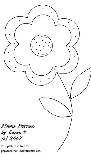 "embroidery pattern- Note to self:  enlarge it and make fabric ""petals"" and leaves with embroidered stem.  Could even use a fabric covered button for the center."