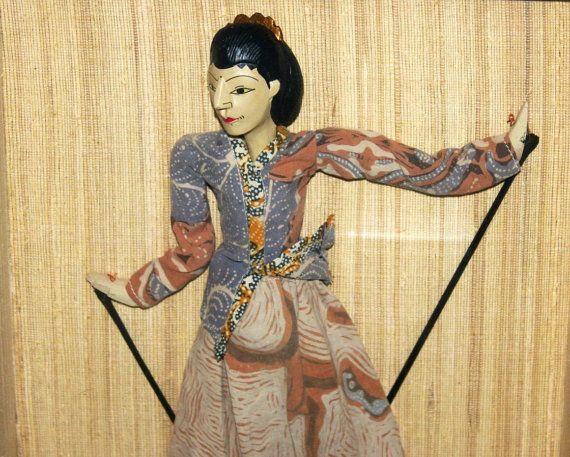 Vintage Framed Antique Javanese Wayang Golek by AntiqueAlchemyShop