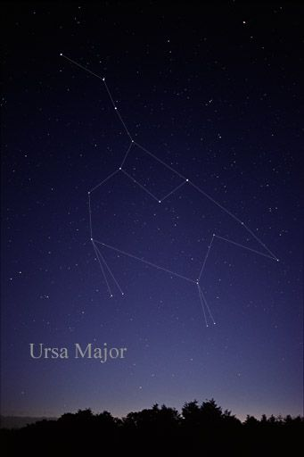 The constellation Ursa Major as it can be seen by the unaided eye.