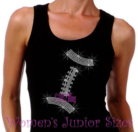 Football - Lace Outline - Iron on Rhinestone Ribbed Tank Top - Bling Hot Fix Sports Mom Transfer Shirt Top