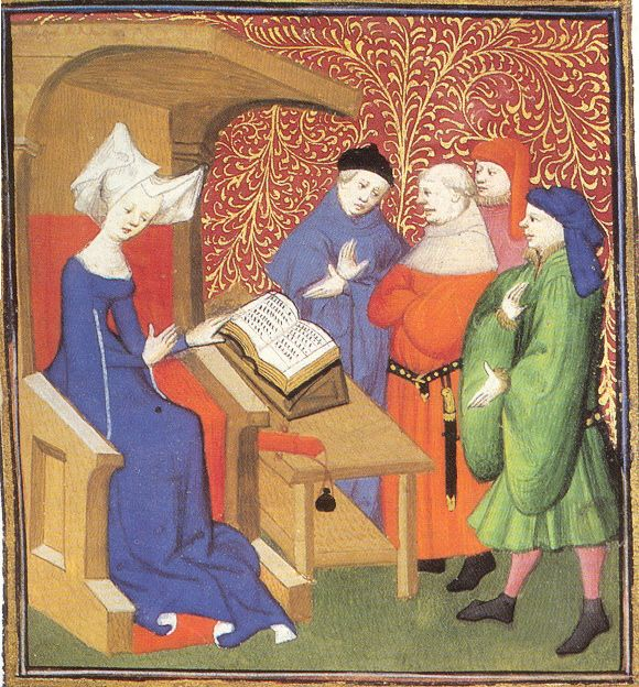Christine de Pisan - cathedra.jpg    The faces all fall along the line of the top third of the image. She is set a part in the left most third while the others watch. Thus the image follows the rule of thirds. I am also thinking that if we super impose a golden mean, the center may point to her face as well.