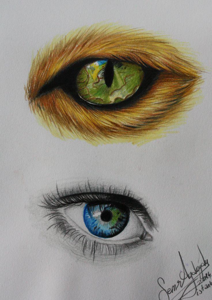 colour drawing ,eyes, göz çizimleri