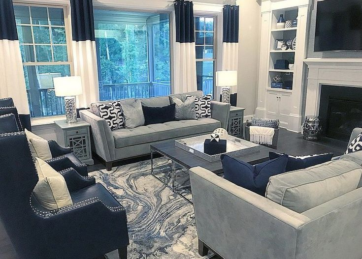 Best Navy Blue And Gray Decor Blue Living Room Decor Living 400 x 300