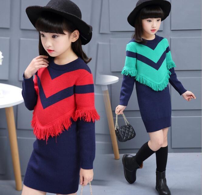 >> Click to Buy << Girls O-neck Striped Knitted Tassel Slim Hip Dress Children Spring Autumn Long Sleeve Sweater Dress #Affiliate
