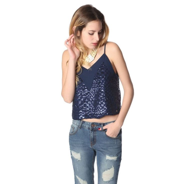 Navy blue cami top with sequin detail