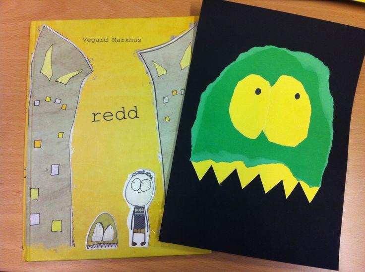 Vi leste bøker og lagde bilder som passer til. Her rev vi ut et monsterhode i en farge og øyne i en annen. Tennene klippet vi ut. Så ble alt limt på en bakgrunn.  Bok: Redd av Vegard Markhus.