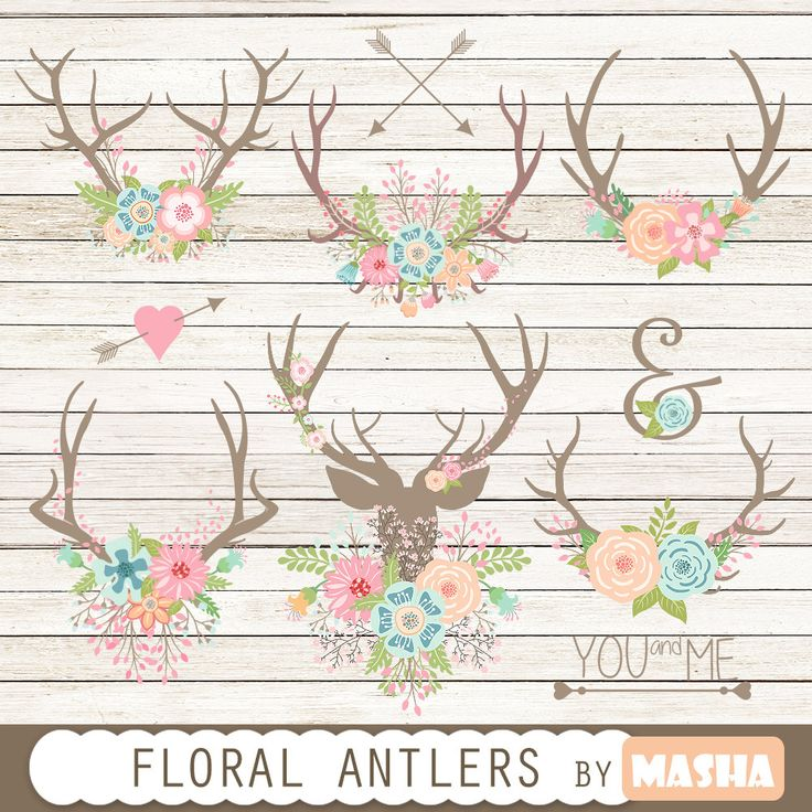 "Floral antlers: ""Floral Antlers"" antler clipart, floral bouquet, rustic wedding…"