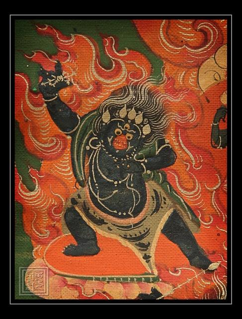 """Кродха Ваджрапани (тиб. Чакнадорчже; бур. Шагдар), т.е. [Держащий] в руке ваджру, - бодхисаттва; в учении Махаяны предстает одним из восьми духовных сыновей Будды Шакьямуни, однако чаще всего он изображается, согласно традиции ваджраяны, в гневном облике и трактуется как """"Владыка тайного"""", поскольку хранит тексты тантр и учений, полученных от Будды Шакьямуни в форме Ваджрадхары."""