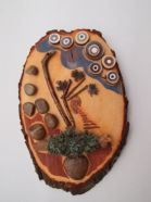 Natural materials assemblage painting