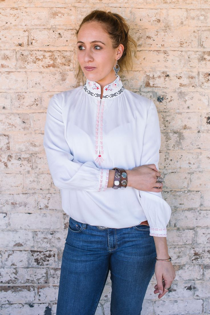 Bohemian Traders - Embroidered Deep Key Top