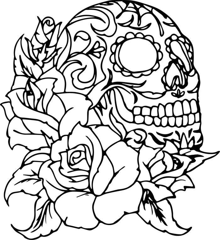 Rose And Skull Coloring Pages For Adults In 2020 Skull Coloring Pages Rose Coloring Pages Sugar Skull Drawing