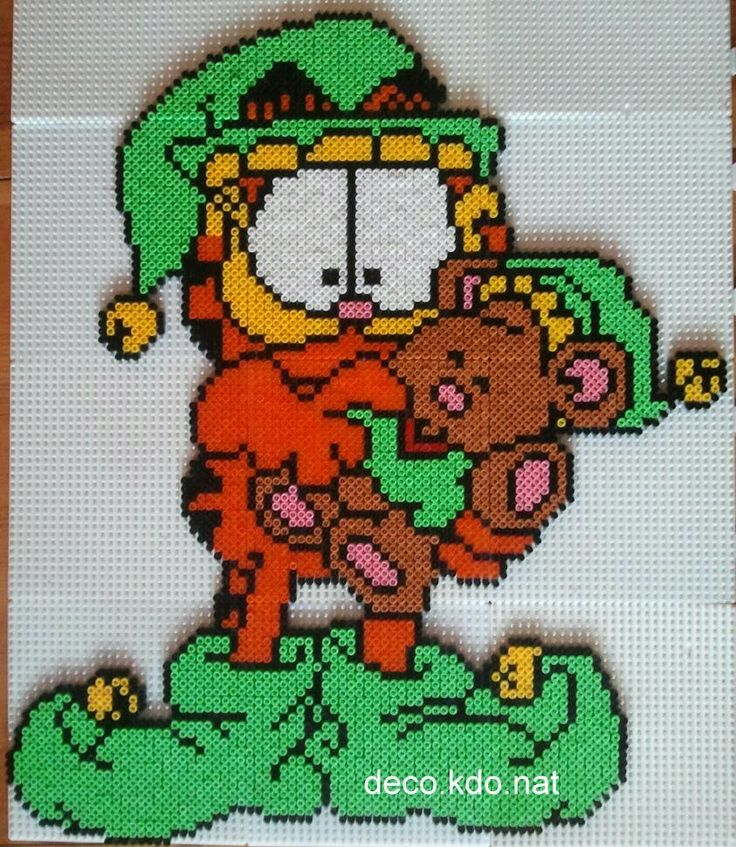 Christmas Garfield elf hama perler beads by deco.kdo.nat