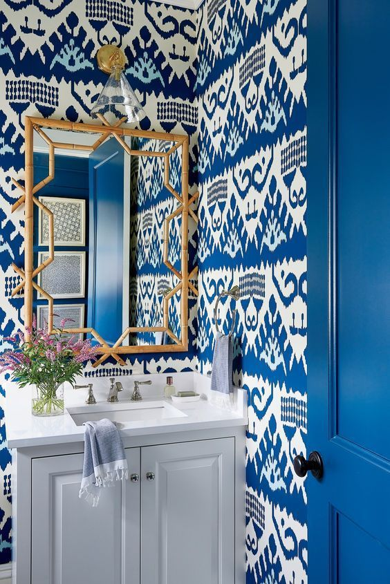 Looking for wallpaper inspiration for your powder bathroom? Try one of these 29 fabulous ideas to get that custom look you are going for!! From geometric to floral patterns, bold to subtle colors, and accent walls to full rooms- there is a wallpaper style for you.