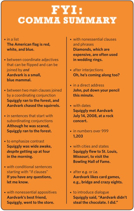 This chart from Grammar Girl Presents the Ultimate Writing Guide for Students gives examples of the 15 most common ways to use a comma. Some of the items represent style choices instead of rules, such as how to use a comma in a list, but when you're making a simple list, you have to make choices
