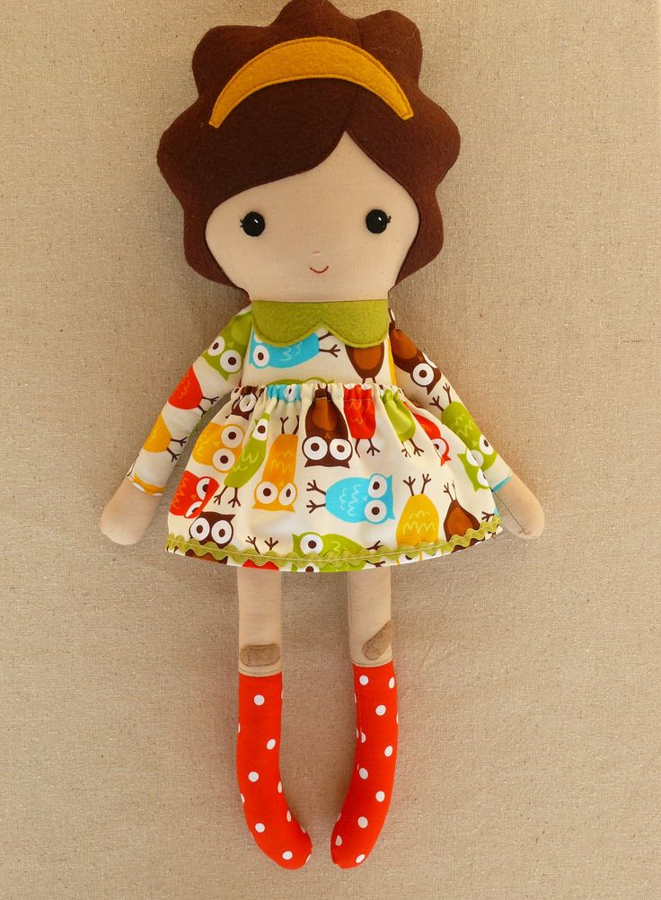 Reserved for generationsouth - Fabric Doll Rag Doll Girl with Owl Dress and Bandaids. $35.00, via Etsy.
