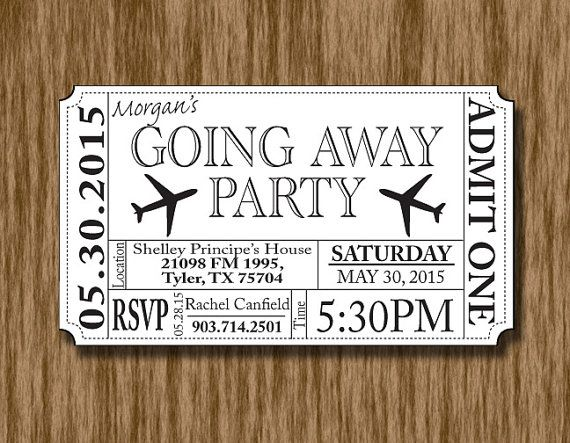 Going Away/Bon Voyage/Farewell Party Ticket by ThroughTheGlassDsgn