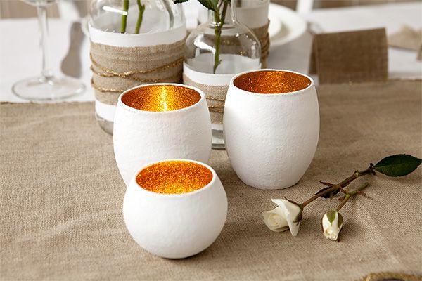 Diy gold glitter votives diy pinterest for How to make a glitter candle holder