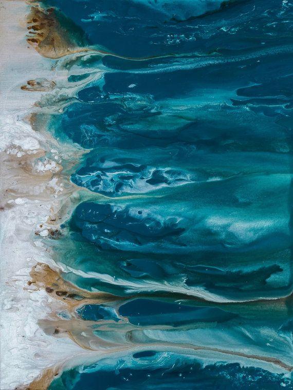 Abstrakte Kunst blau Wand Küstenlandschaft Giclee von LDawningScott